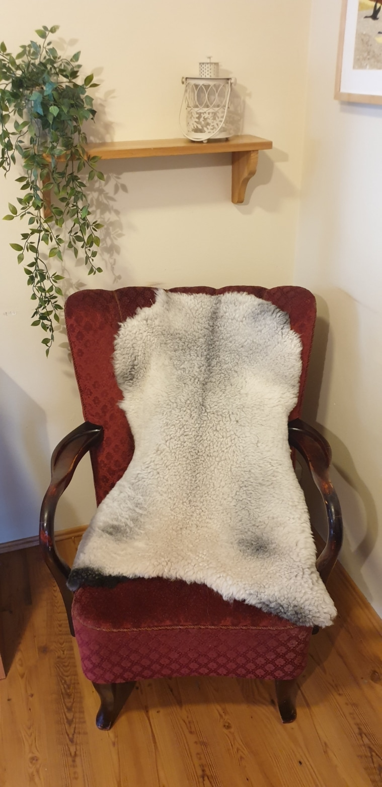 Grey lambskins for baby carriage